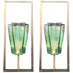 Four Pairs of Architectural Emerald Green Sconces by Fabio Ltd