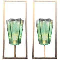 Pair of Italian Murano Architectural Emerald Green Glass Sconces