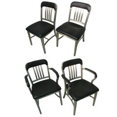 Set of Four Aluminum Mid Century GoodForm Dining Chairs by General Fireproofing