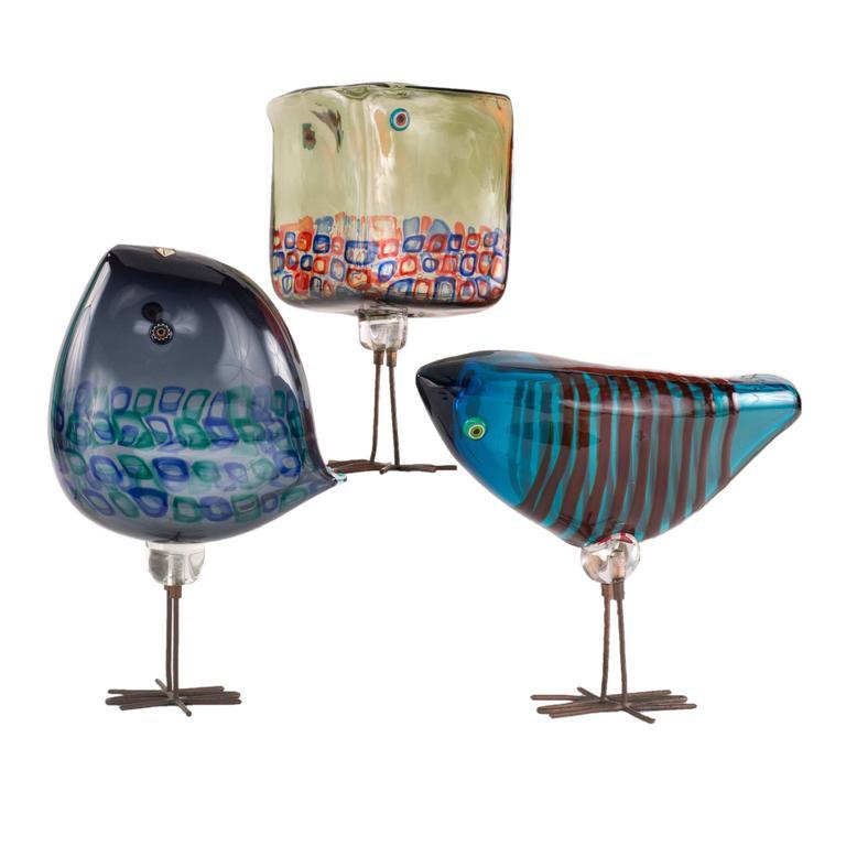 Italian Mid Century Modern Art Gl Pulcino Birds By Alessandro Pianon For