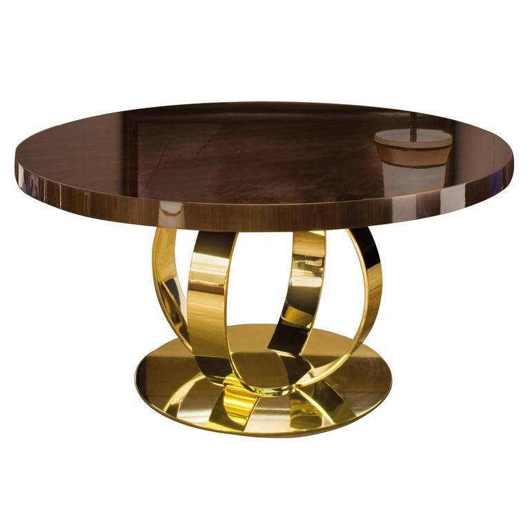 Dom Edizioni Italian Modern Lacquered Wood And Brass Round Andrew Dining  Table 1