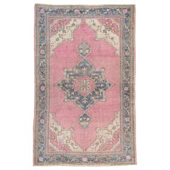 Midcentury Handmade Turkish Oushak Throw Rug In Pink and Blue-Grey