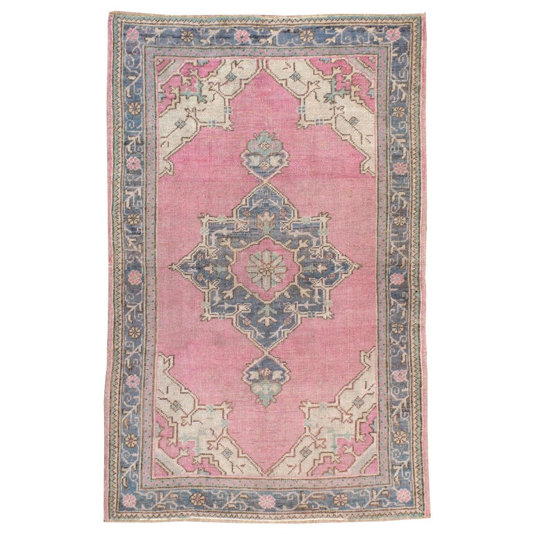 Midcentury Handmade Turkish Oushak Throw Rug In Pink and Blue-Grey For Sale