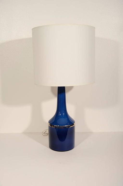 Scandinavian Modern Pair of Cobalt Blue Glass Lamps by Lyktan Haus For Sale