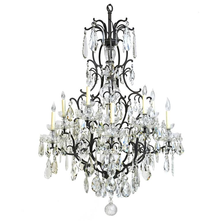 Large Ten-Light Chandelier with Glass Crystals and Wrought Iron Open Cage Frame