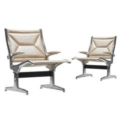 Eames for Herman Miller Tandem Sling Airport Chair in Cream Edelman Leather
