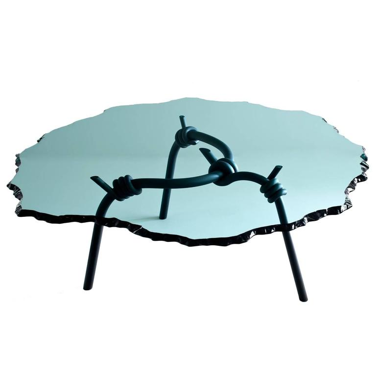 barbed wire  dining table with forged  blackened steel