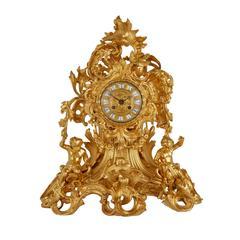Large Louis XV Style Ormolu Mantel Clock