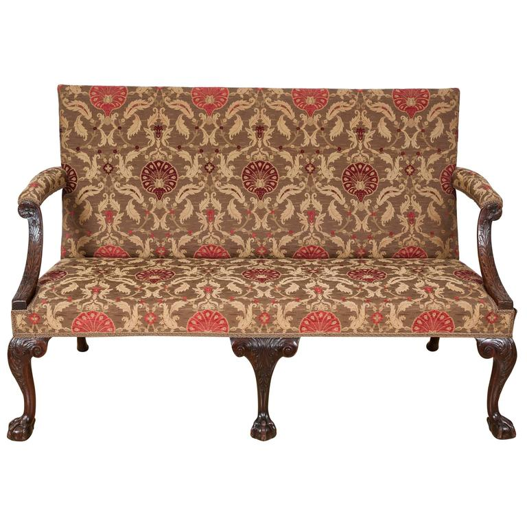 18th Century Mahogany Rectangular Back Settee with Cabriole Legs