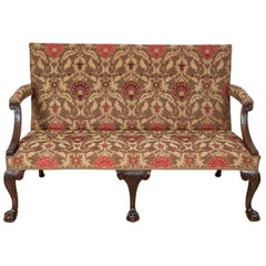18th Century Settee, Mahogany Carved Cabriole Legs, 1750