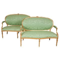 Pair of Carved Giltwood Settees, 18th Century Attributable to Thomas Chippendale