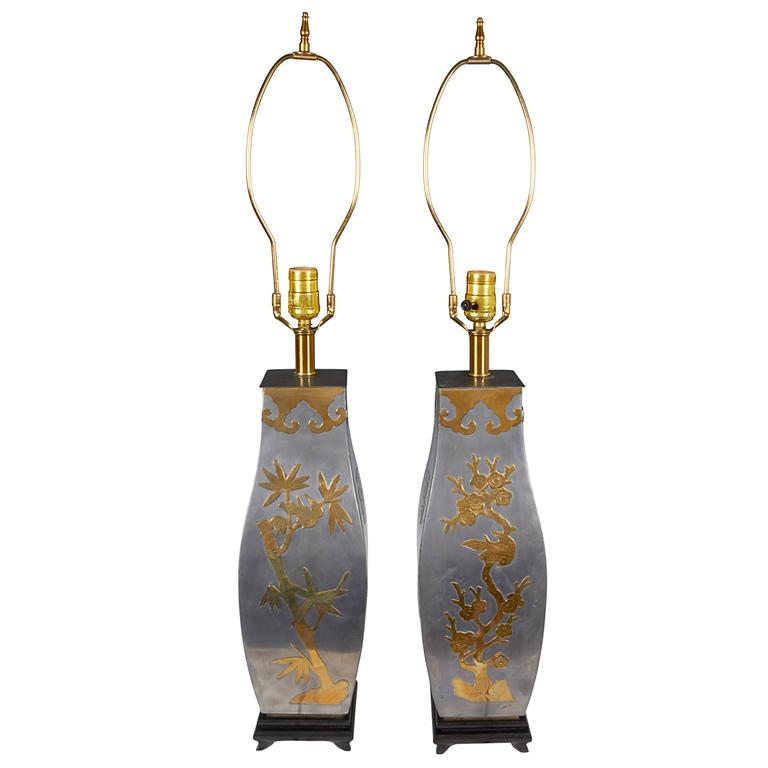 Paired of 1960s Asian Inspired Metal Lamps with Brass Accents