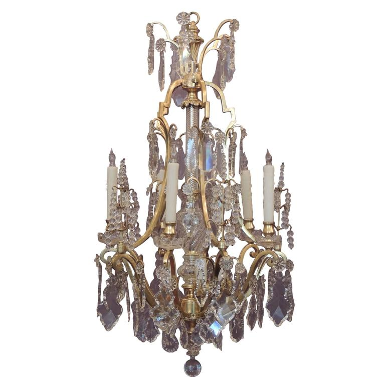 Early 20th c french bronze dor and lead crystal chandelier for sale early 20th c french bronze dor and lead crystal chandelier for sale aloadofball Image collections