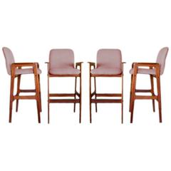 Rare Set of Four Teak Barstools by Benny Lindén