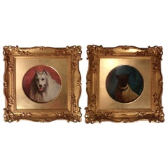 Pair of Oil on Canvas Dog Portraits by George Earl