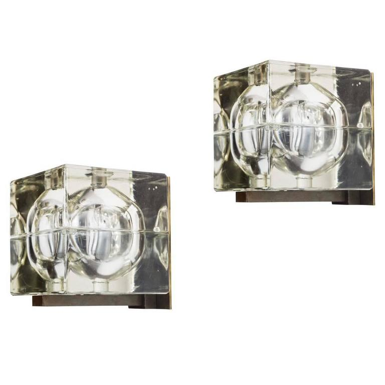 Pair of Glass 'Cubosfera' Sconces by Alessandro Mendini