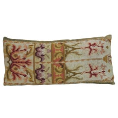 19th Century Orange and Gold Tapestry Decorative Lumbar Pillow