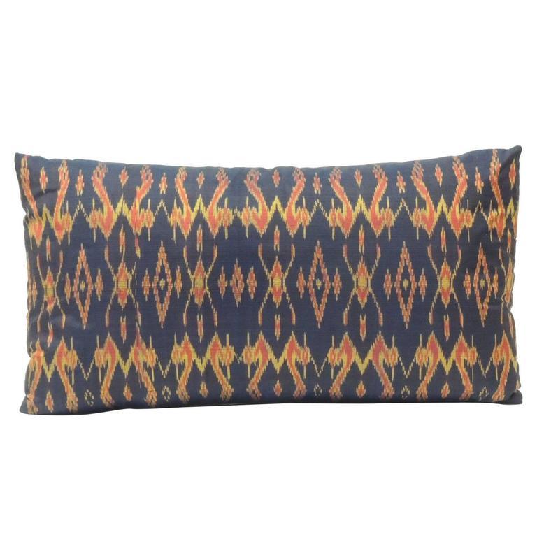 Antique Purple Silk Ikat Decorative Bolster Decorative Pillow For Sale at 1stdibs