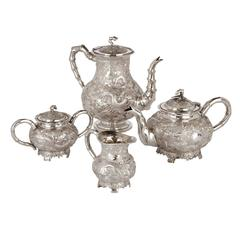 Fine Qing Dynasty Four Piece Silver Coffee and Tea Service by K.W
