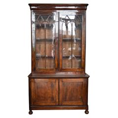 19th Century French Gothic Louis Philippe Mahogany Bookcase