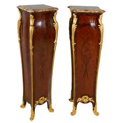 Pair of French Ormolu-Mounted Kingwood Pedestals Signed Millet A. Paris