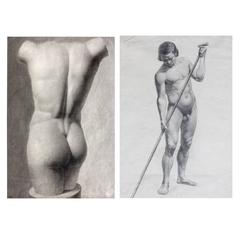Two Classical Male Nude Studies by Wilhelm Marstrand, Denmark