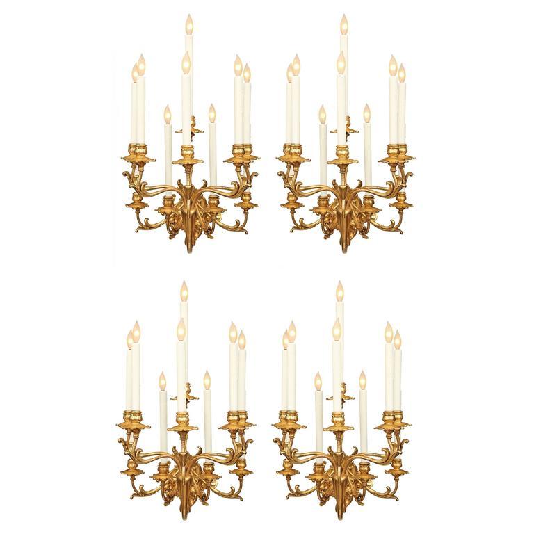 Rare Set of Four Monumental Italian Early 19th Century Rococo Sconces