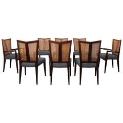 Eight V-Back Dining Chairs by Baker