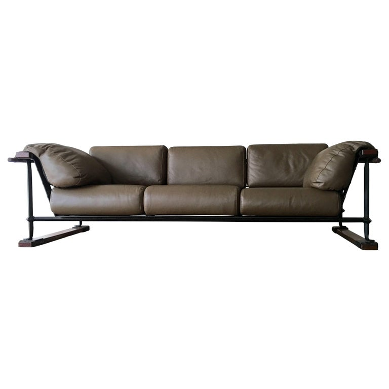 Cleo Baldon Handcrafted 8' Leather Sofa for Terra, circa 1965 For Sale