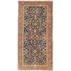 Antique Persian Sultanabad Gallery Rug with All over Design in Blue Background