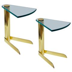 Pair of Brass and Glass Side or Drinks Tables by Pace Collection