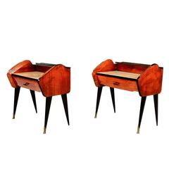 Mid Century Modern  Pair of Rosewood Nightstands Bed Side Tables Made in Italy