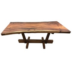 George Nakashima Style Conoid Dining Table With Free Edge Top