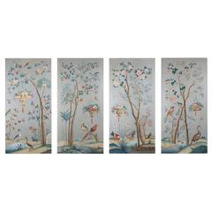 Four Large-Scale Decorative Chinoiserie Oil on Canvas Panels