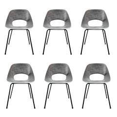 Rare Set of Six Aluminium Chairs by Pierre Guariche