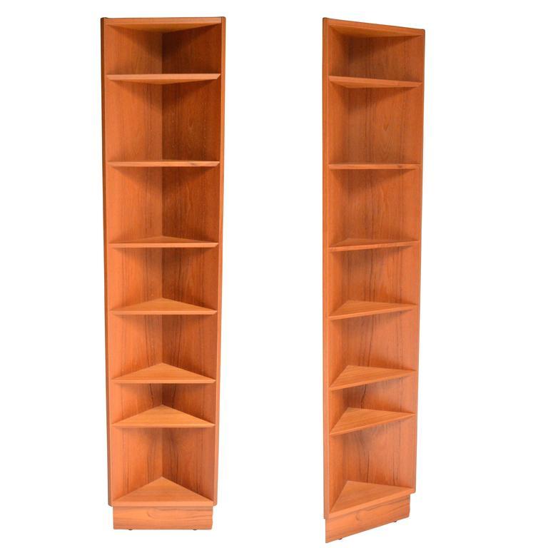 Pair of Teak Corner Shelves
