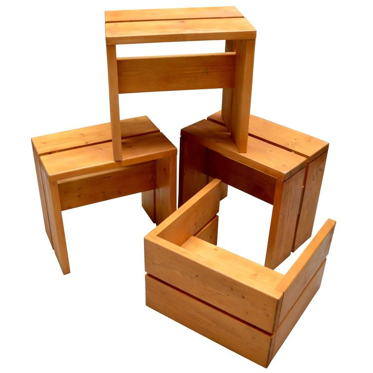 Charlotte Perriand Pine Stools for Les Arcs For Sale
