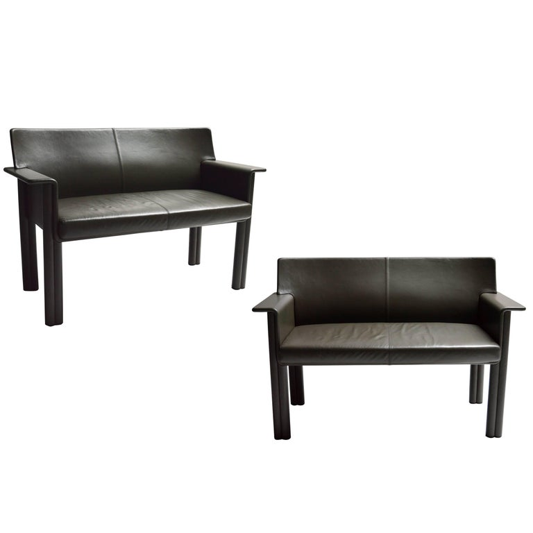 Pair of Tobia Scarpa Leather Settees For Sale