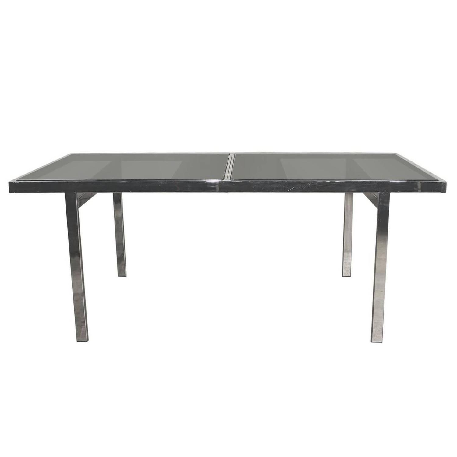 Milo Baughman Expandable Dining Table Chrome And Smoked Glass For Sale