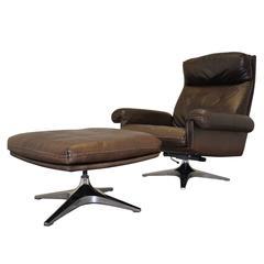 Vintage De Sede DS 31 Swivel Lounge Armchair with Ottoman 1970`s