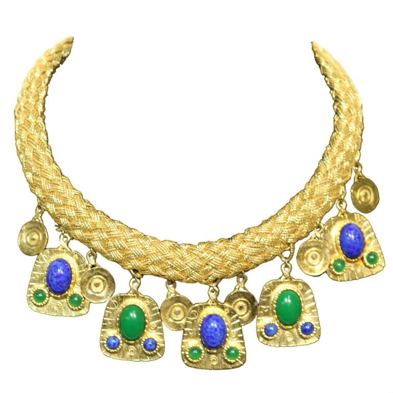 Gold Woven Strand Collar Necklace with Malachite and Lapis Drops