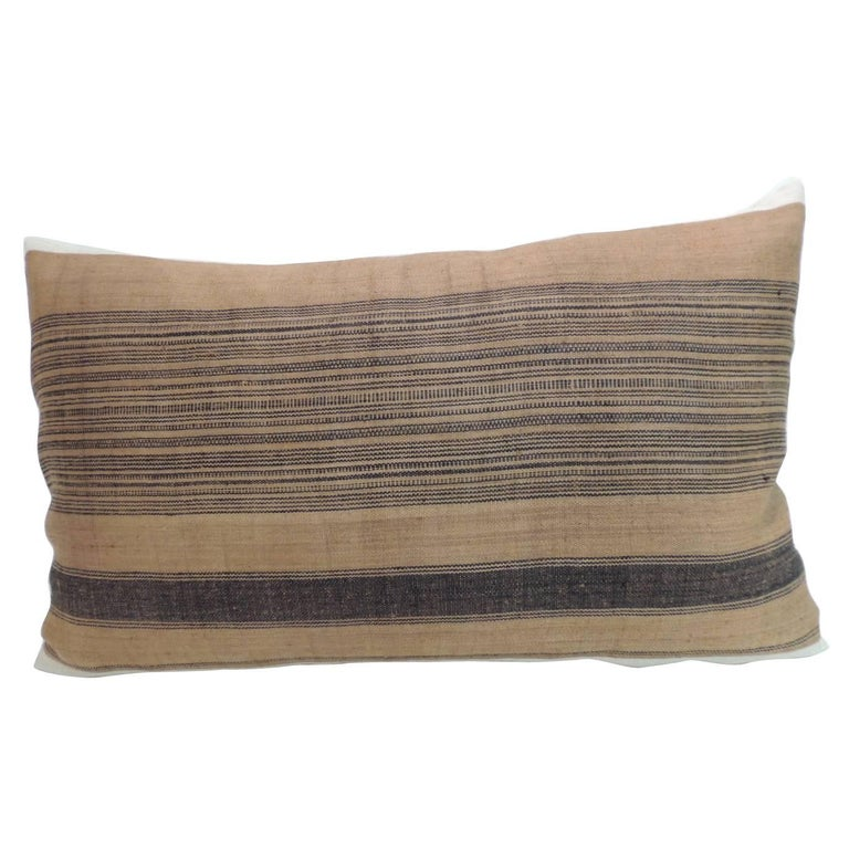 Decorative Linen Pillows : Vintage Asian Linen Homespun Striped Chinese Decorative Bolster Pillow For Sale at 1stdibs