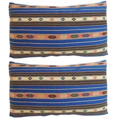Pair of vintage Blue Stripes Linen Bolster Decorative Pillows