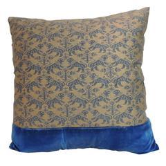 "Vintage Fortuny ""Richelieu"" Blue on Gold Square Decorative Pillow"