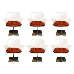 Charles Hollis Jones, Set of Six Lucite Dining Chairs