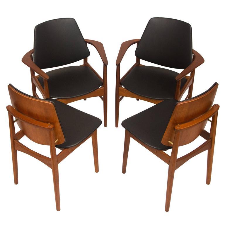 Set Of Four Danish Teak Dining Chairs Arne Hovmand Olsen