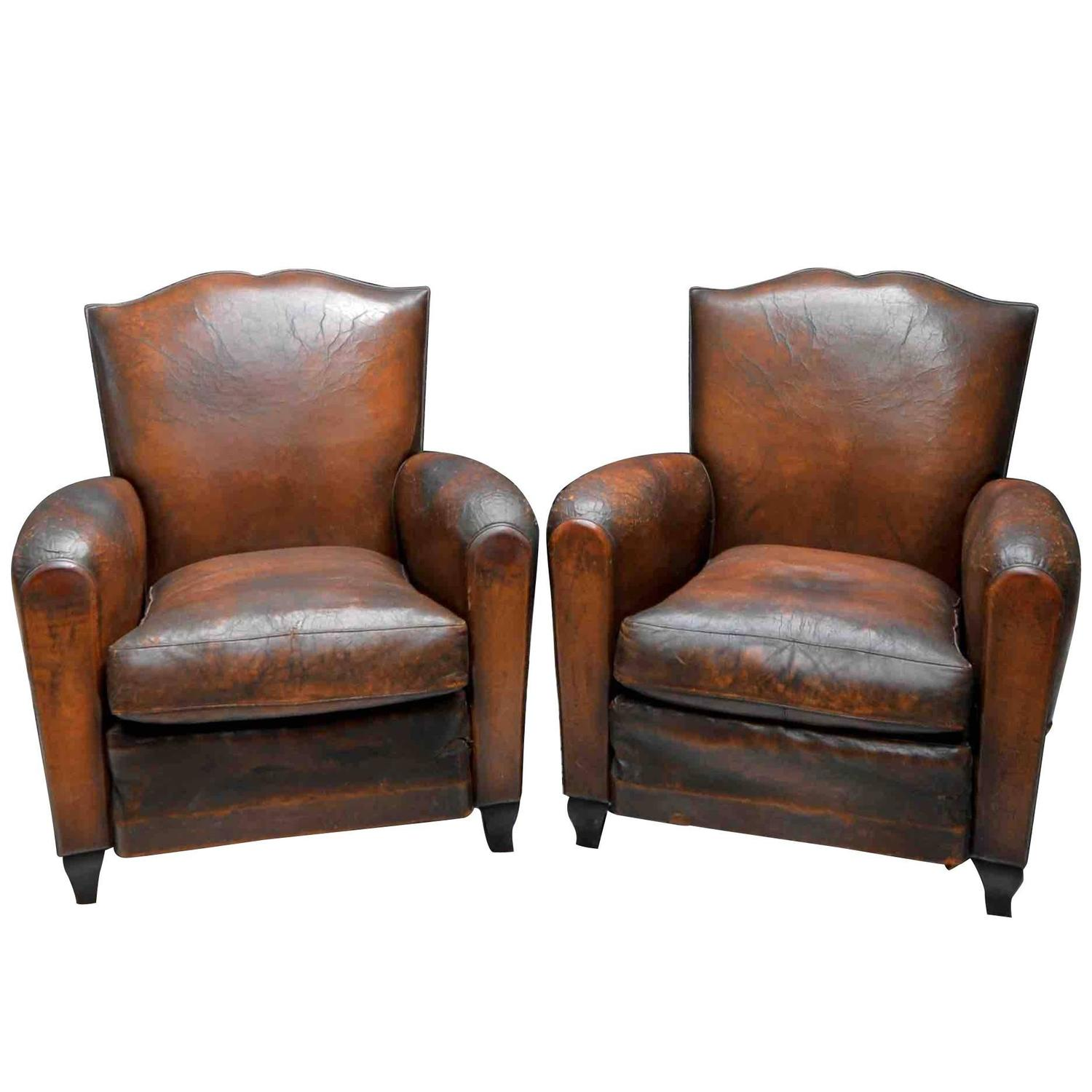 Small french art deco moustache leather lounge club chairs at 1stdibs