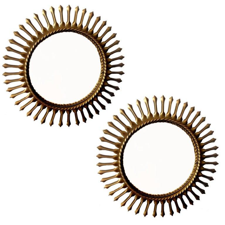 Signed Chaty Vallauris Mid-Century Modern Brass Sunburst  Mirrors - Pair For Sale