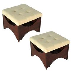 1960s Pair of Rosewood Square Upholstered Seat Foot Stools, France