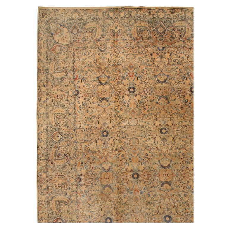 Antique Oversize Persian Lavar Kerman Carpet